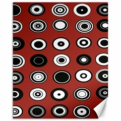 Circles Red Black White Canvas 16  X 20