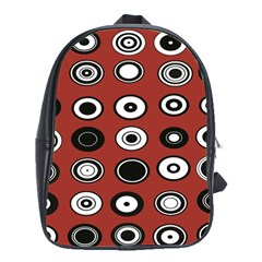 Circles Red Black White School Bags(large)