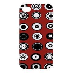 Circles Red Black White Apple Iphone 4/4s Premium Hardshell Case