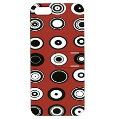 Circles Red Black White Apple Iphone 5 Hardshell Case With Stand