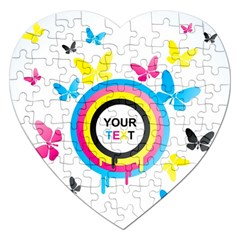Colorful Butterfly Rainbow Circle Animals Fly Pink Yellow Black Blue Text Jigsaw Puzzle (heart)