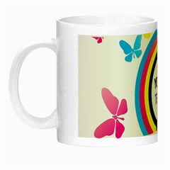 Colorful Butterfly Rainbow Circle Animals Fly Pink Yellow Black Blue Text Night Luminous Mugs