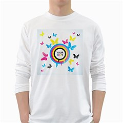 Colorful Butterfly Rainbow Circle Animals Fly Pink Yellow Black Blue Text White Long Sleeve T Shirts