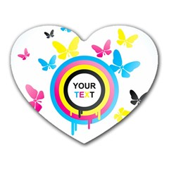 Colorful Butterfly Rainbow Circle Animals Fly Pink Yellow Black Blue Text Heart Mousepads by Alisyart