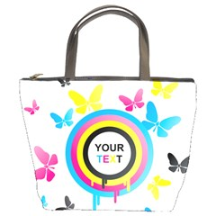 Colorful Butterfly Rainbow Circle Animals Fly Pink Yellow Black Blue Text Bucket Bags