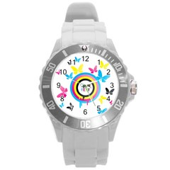 Colorful Butterfly Rainbow Circle Animals Fly Pink Yellow Black Blue Text Round Plastic Sport Watch (l) by Alisyart