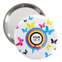 Colorful Butterfly Rainbow Circle Animals Fly Pink Yellow Black Blue Text 3  Handbag Mirrors