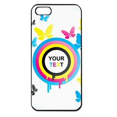 Colorful Butterfly Rainbow Circle Animals Fly Pink Yellow Black Blue Text Apple Iphone 5 Seamless Case (black)