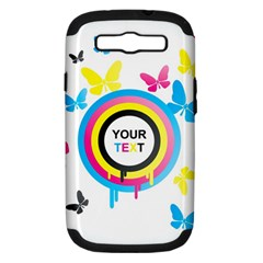 Colorful Butterfly Rainbow Circle Animals Fly Pink Yellow Black Blue Text Samsung Galaxy S Iii Hardshell Case (pc+silicone) by Alisyart