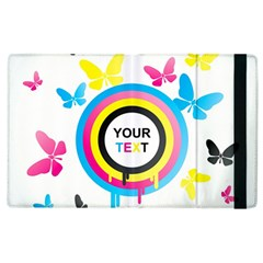 Colorful Butterfly Rainbow Circle Animals Fly Pink Yellow Black Blue Text Apple Ipad 2 Flip Case by Alisyart