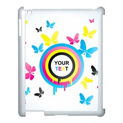 Colorful Butterfly Rainbow Circle Animals Fly Pink Yellow Black Blue Text Apple Ipad 3/4 Case (white)