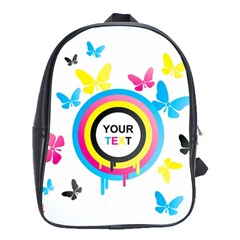 Colorful Butterfly Rainbow Circle Animals Fly Pink Yellow Black Blue Text School Bags (xl)