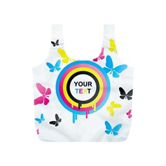 Colorful Butterfly Rainbow Circle Animals Fly Pink Yellow Black Blue Text Full Print Recycle Bags (s)