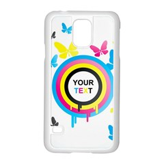 Colorful Butterfly Rainbow Circle Animals Fly Pink Yellow Black Blue Text Samsung Galaxy S5 Case (white)