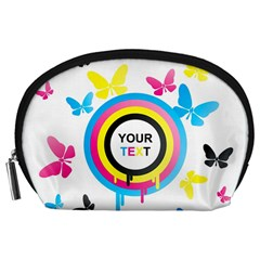 Colorful Butterfly Rainbow Circle Animals Fly Pink Yellow Black Blue Text Accessory Pouches (large)  by Alisyart