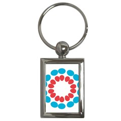Egg Circles Blue Red White Key Chains (rectangle)  by Alisyart