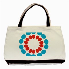 Egg Circles Blue Red White Basic Tote Bag by Alisyart