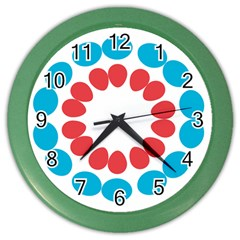 Egg Circles Blue Red White Color Wall Clocks