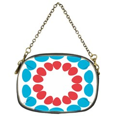 Egg Circles Blue Red White Chain Purses (one Side)