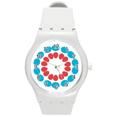 Egg Circles Blue Red White Round Plastic Sport Watch (m) by Alisyart