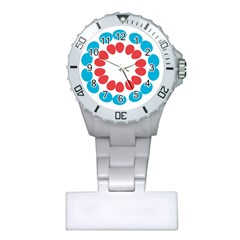 Egg Circles Blue Red White Plastic Nurses Watch by Alisyart