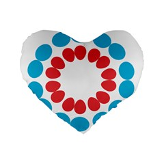 Egg Circles Blue Red White Standard 16  Premium Flano Heart Shape Cushions by Alisyart