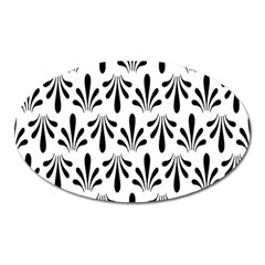 Floral Black White Oval Magnet