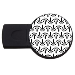 Floral Black White Usb Flash Drive Round (4 Gb)