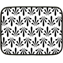 Floral Black White Double Sided Fleece Blanket (mini)