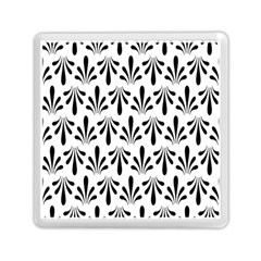 Floral Black White Memory Card Reader (square)