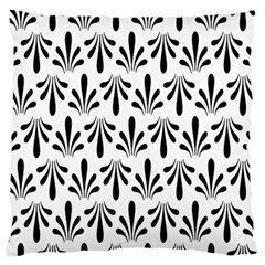 Floral Black White Large Flano Cushion Case (one Side) by Alisyart