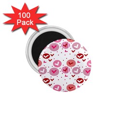Crafts Chevron Cricle Pink Love Heart Valentine 1 75  Magnets (100 Pack)