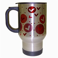 Crafts Chevron Cricle Pink Love Heart Valentine Travel Mug (silver Gray)