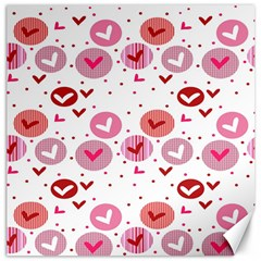 Crafts Chevron Cricle Pink Love Heart Valentine Canvas 16  X 16   by Alisyart