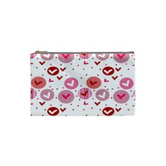 Crafts Chevron Cricle Pink Love Heart Valentine Cosmetic Bag (small)  by Alisyart