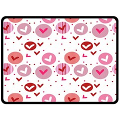 Crafts Chevron Cricle Pink Love Heart Valentine Double Sided Fleece Blanket (large)