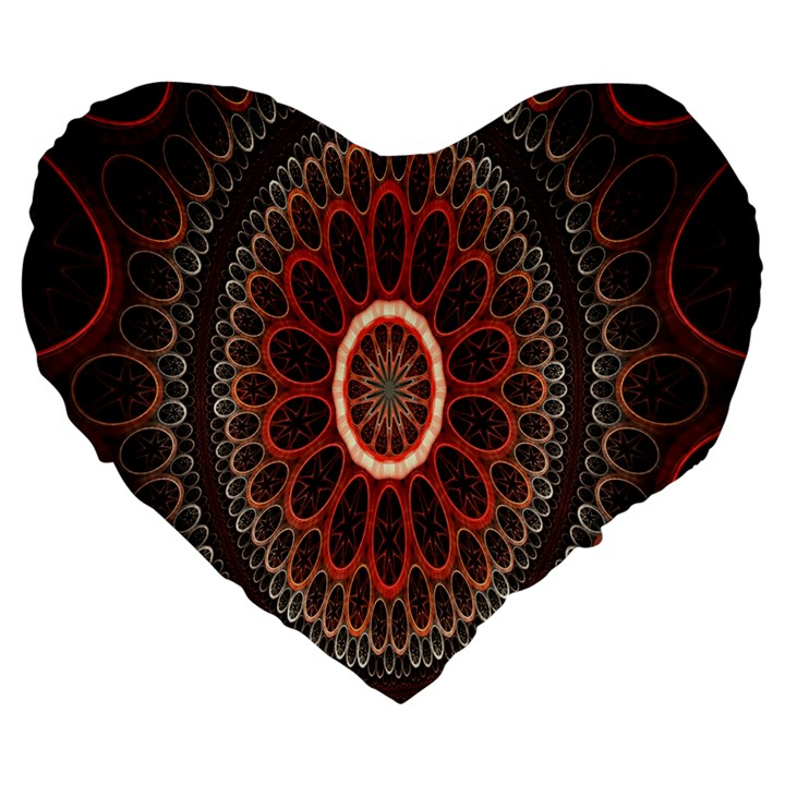 Circles Shapes Psychedelic Symmetry Large 19  Premium Heart Shape Cushions