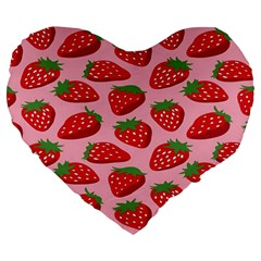 Fruitb Red Strawberries Large 19  Premium Flano Heart Shape Cushions