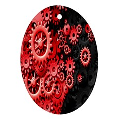 Gold Wheels Red Black Ornament (oval)