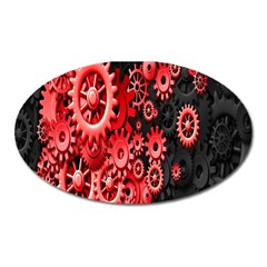 Gold Wheels Red Black Oval Magnet