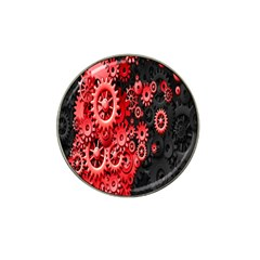 Gold Wheels Red Black Hat Clip Ball Marker (4 Pack)