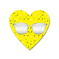 Glasses Yellow Heart Magnet