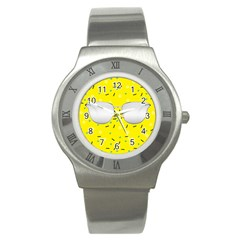 Glasses Yellow Stainless Steel Watch by Alisyart