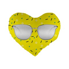 Glasses Yellow Standard 16  Premium Heart Shape Cushions by Alisyart