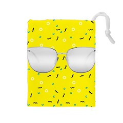 Glasses Yellow Drawstring Pouches (large)