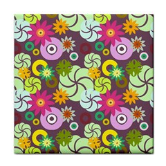 Floral Seamless Rose Sunflower Circle Red Pink Purple Yellow Tile Coasters
