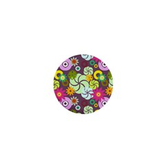 Floral Seamless Rose Sunflower Circle Red Pink Purple Yellow 1  Mini Buttons