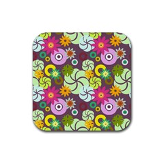 Floral Seamless Rose Sunflower Circle Red Pink Purple Yellow Rubber Coaster (square)