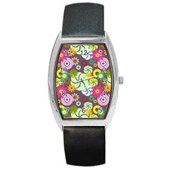 Floral Seamless Rose Sunflower Circle Red Pink Purple Yellow Barrel Style Metal Watch by Alisyart