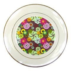 Floral Seamless Rose Sunflower Circle Red Pink Purple Yellow Porcelain Plates